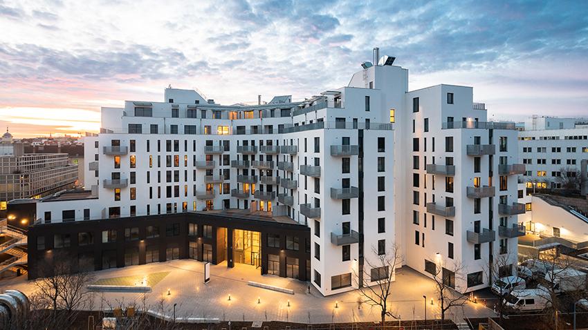 moderný bytový komplex bytov vo Viedni