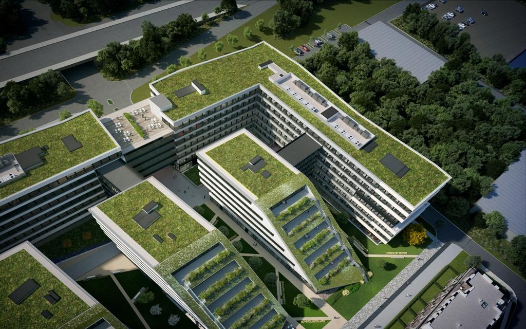 vizualizácia DOCK IN FIVE v Prahe so zelenou strechou
