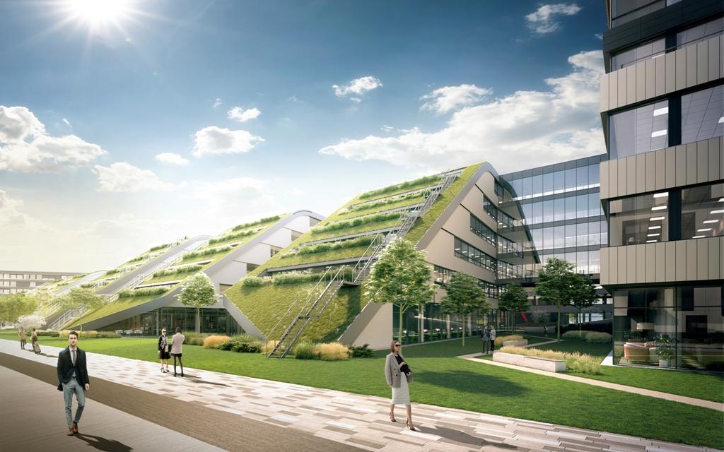 vizualizácia administratívnej budovy DOSK IN FIVE obklopena zeleňou