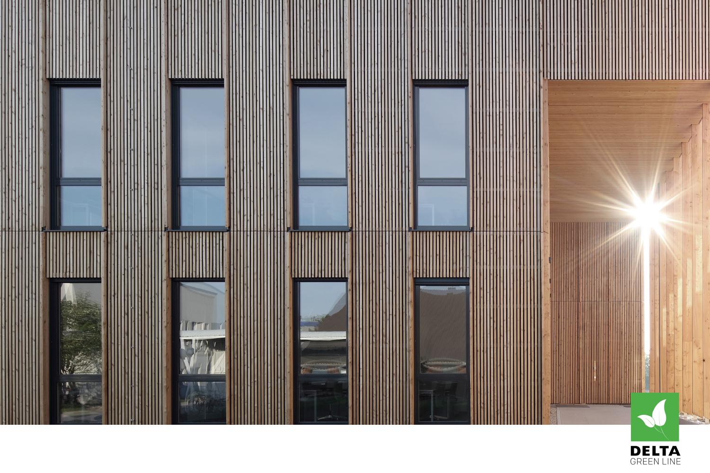 Dřevěné obložení budovy DELTA Green line